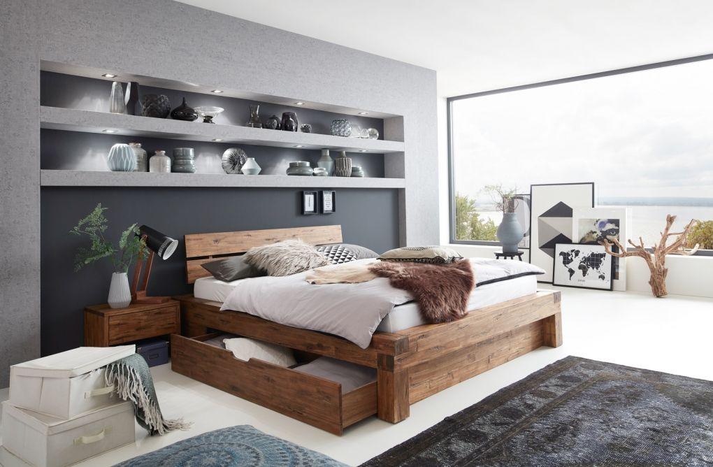 SAM® Balkenbett Massivholz 180 x 200 cm mit Bettkasten
