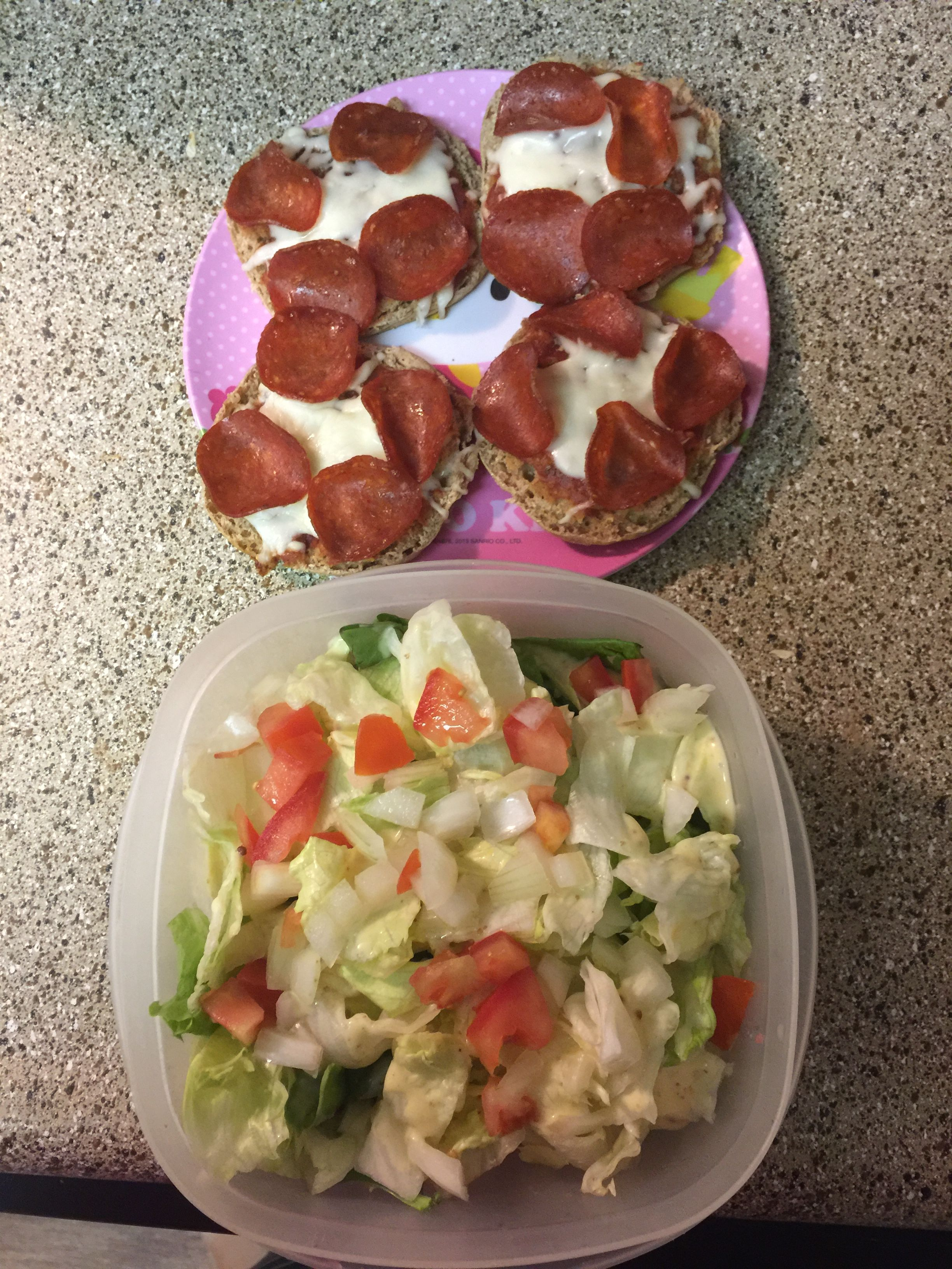 Light English muffin pizzas Turkey pepperoni  Lite Trader Joe's mozzarella  Salad