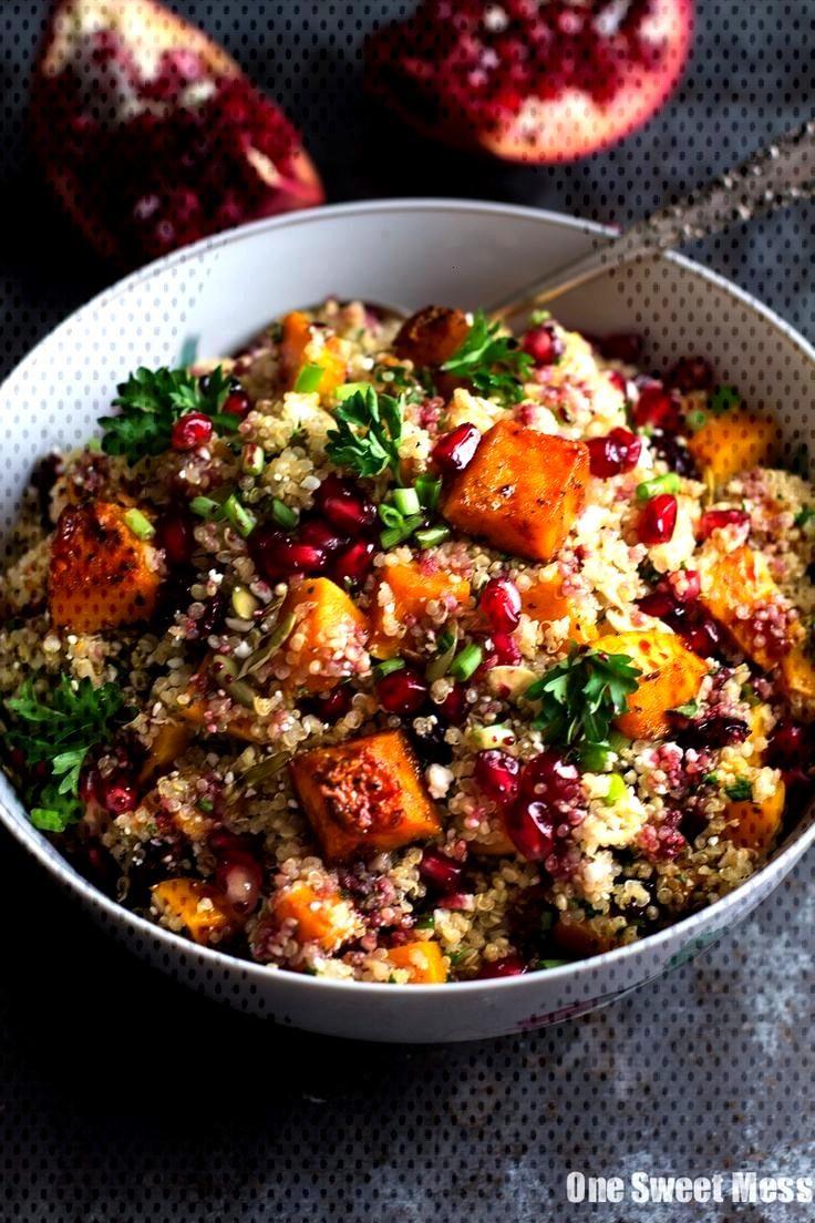 21 Healthy + Cozy Winter Quinoa Salad Recipes - Simply Quinoa - Roasted Butternut + Quinoa Salad w