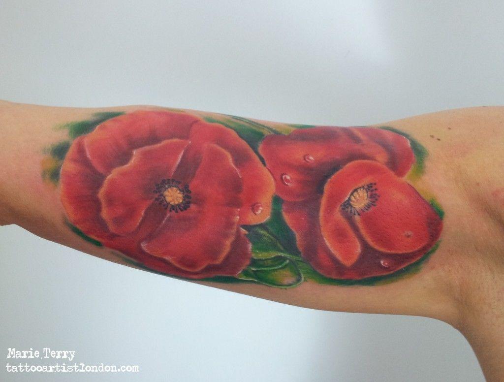 Realistic Poppy Flowers By London Tattoo Artist Marie Terry