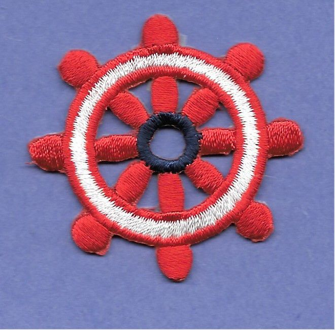 "1 3//4/"" Red /& White Nautical Embroidered Iron On Patch Ships Wheel"