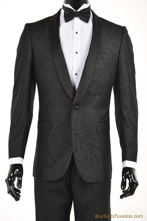 100% authentic online retailer beautiful and charming Black Paisley Pattern Slim Fit Tuxedo Jacket/Dinner Jacket ...