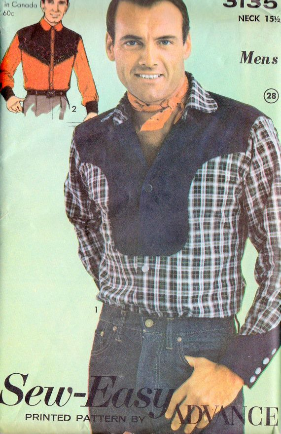 5cbf61bbafd065 1960s Mens Western Cowboy Button Front Shirt Vintage Sewing Pattern Advance  3135 Neck 15.5 Chest 40