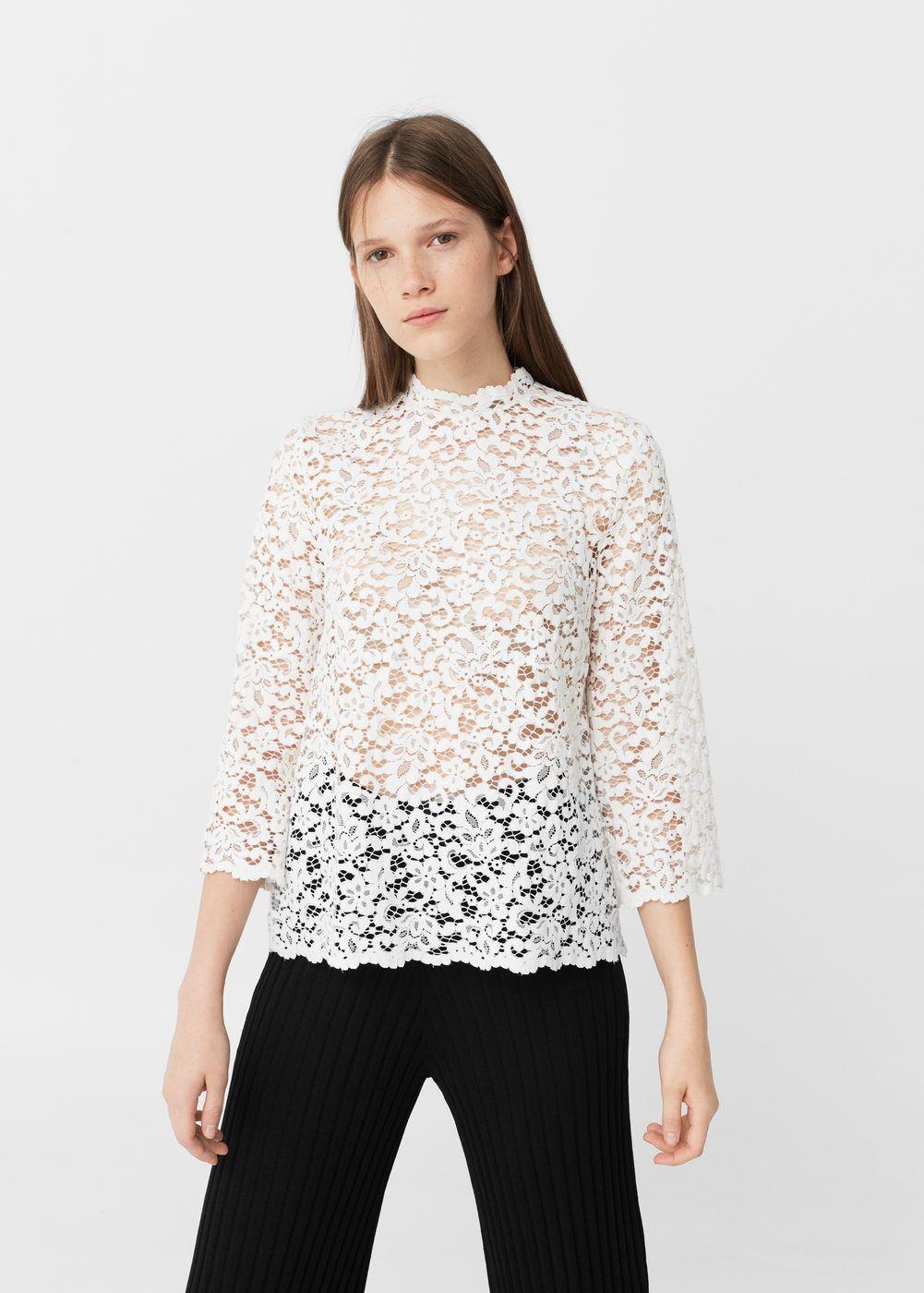 229011598 Blusa guipur - Mujer | blusas | Blusa guipur, Blusas y Blusas de encaje
