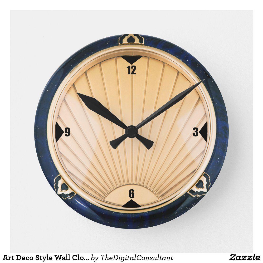 Art Deco Style Wall Clock Zazzle Com Art Deco Clock Art Deco Interior Clock Art