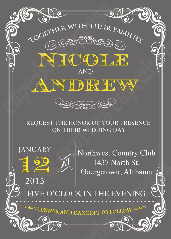 Diy Wedding Grey Yellow Printable Invitation 5x7 Baby Shower Bridal Via Etsy