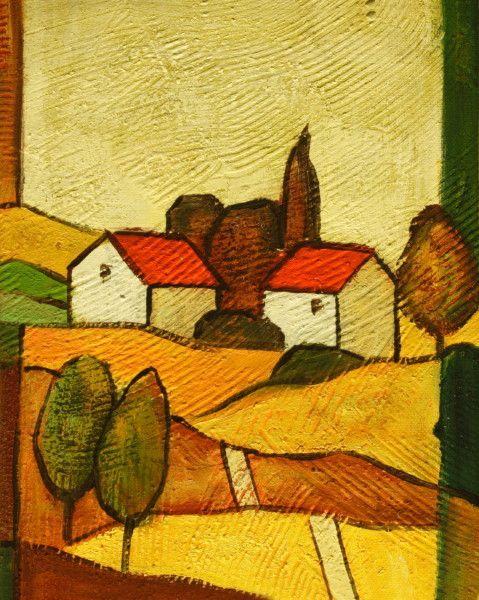 Cuadros abstractos casitas rojas en la campi a ii for Imagenes de cuadros abstractos geometricos
