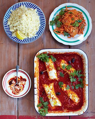 White Fish Tagine Carrot Coriander Amp Clementine Salad Jamie Oliver 15 Min Meal Recipe