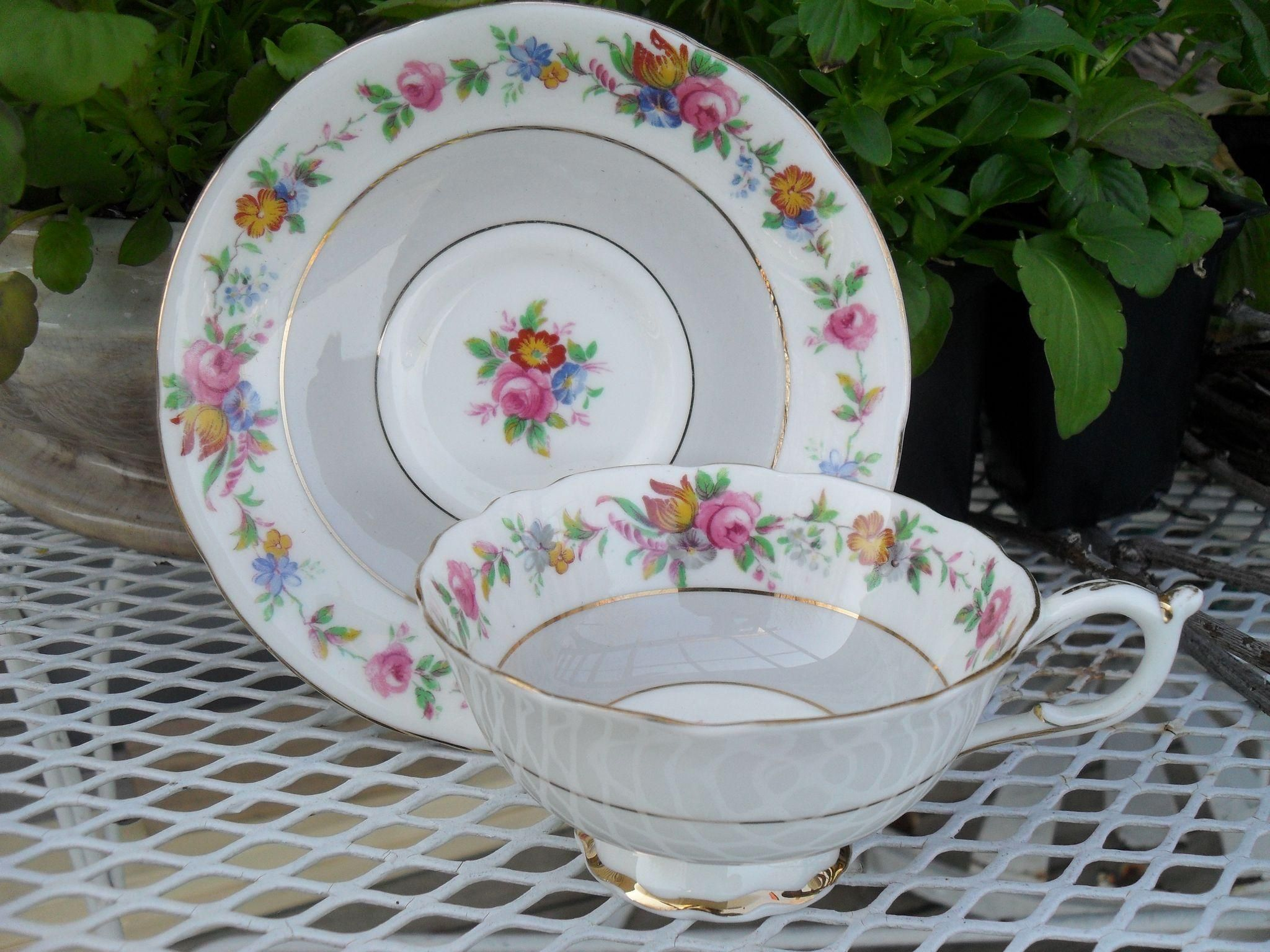 Early Paragon DW Queen Mary Pink Floral Rose Teacup and Saucer 66465 from misssmithvt on Ruby Lane