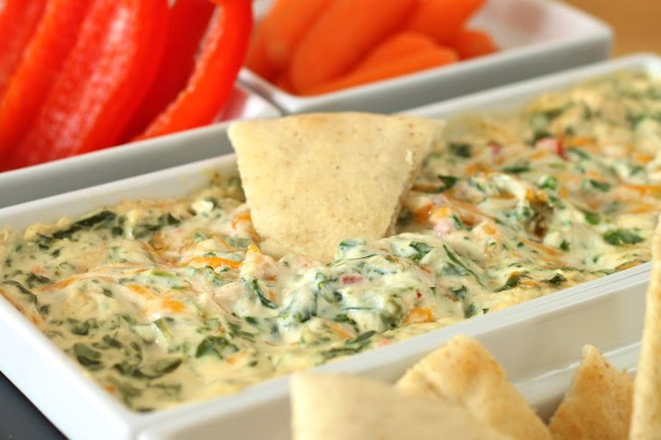 Four Cheese Spinach Dip Kelsey's Style Recipe Appetizers with cream cheese, garlic powder, grated parmesan cheese, grated romano cheese, red bell pepper, green onions, baby spinach, medium cheddar cheese, cayenne