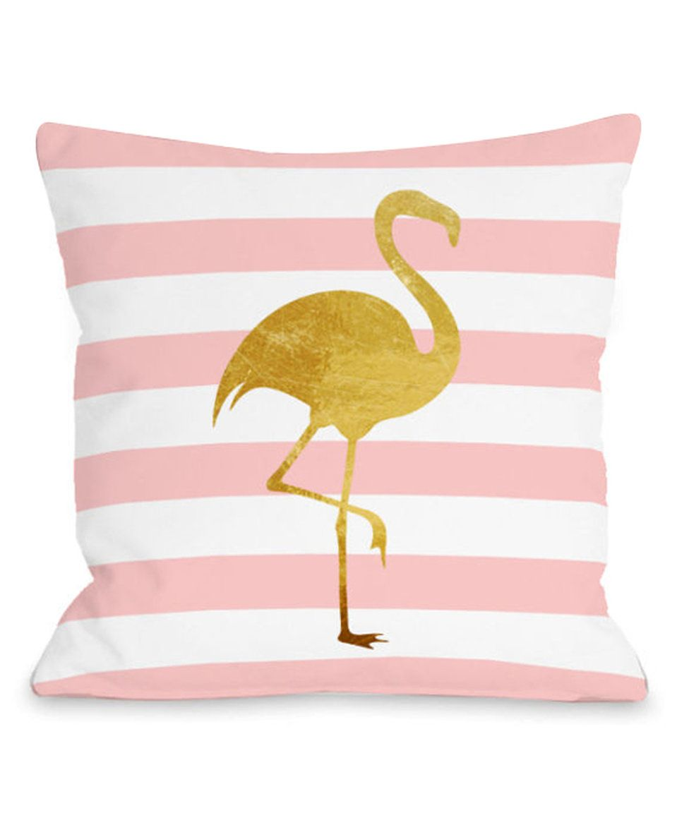 Take a look at this Tropical Stripe Flamingo Throw Pillow today!