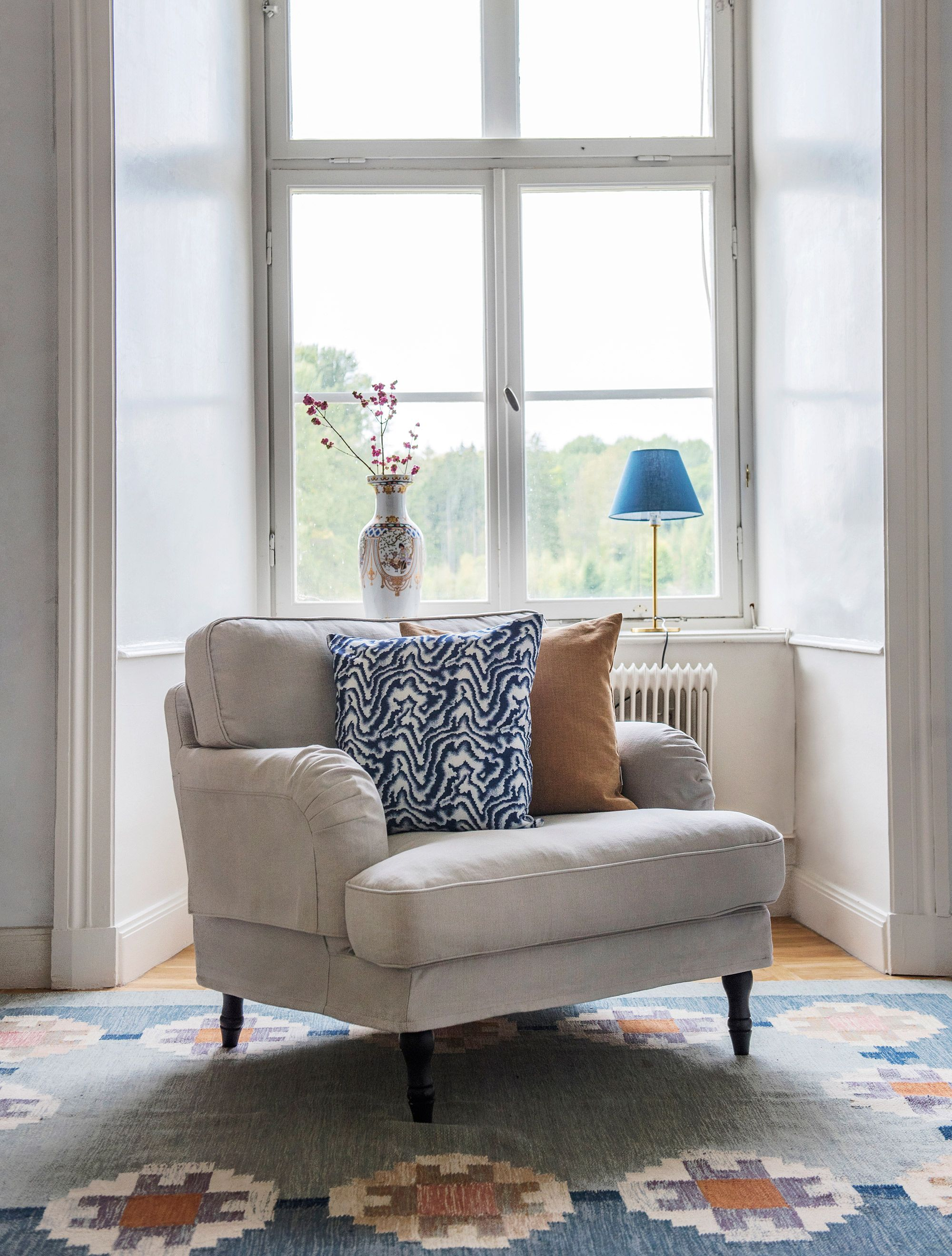 ikea stocksund chair covers beach chairs at walgreens armchair cover new project home pinterest howard with a bemz x romo elegant windows patterned rug