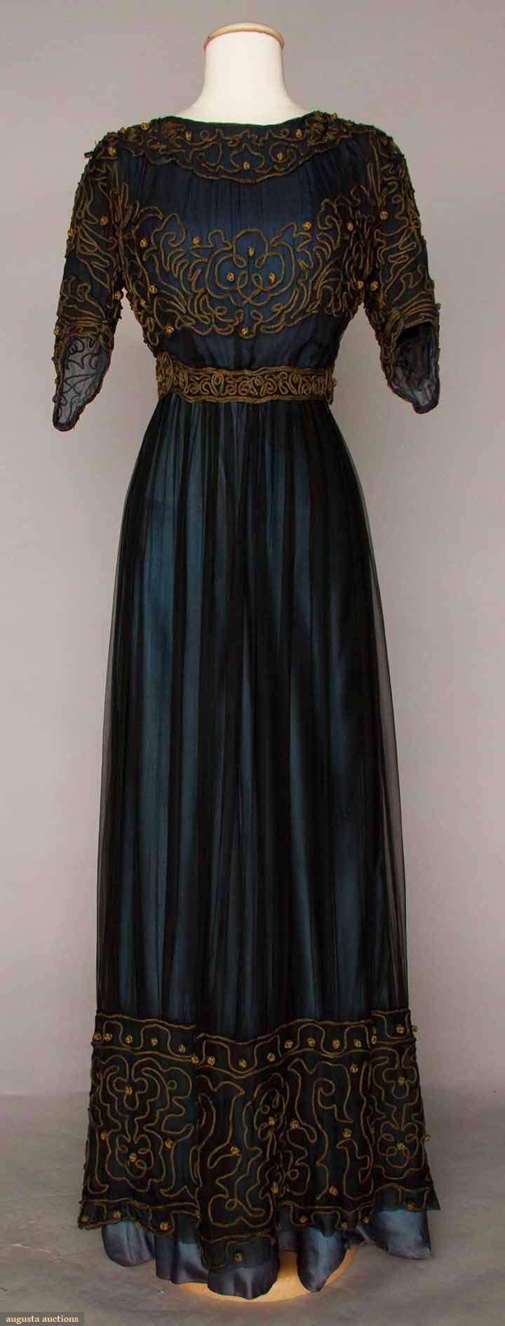 Augusta Auctions BLUE AFTERNOON DRESS, c. 1910 Go Back Lot: 1008 May 10, 2016 - Sturbridge, MA Sturbridge, Massachusetts Marine blue silk & chiffon dress w/ gold soutache, some holes, fair