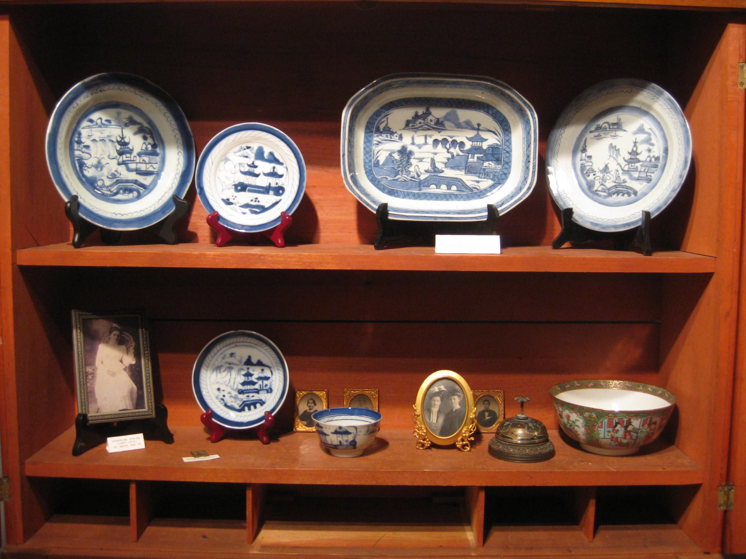 Artifacts in case for the Chatham to China exhibit. Several items donated by the Atkins family from the China trade era. #chathamhistoricalsociety, #atwoodhouse, #chatham, #capecod, #china