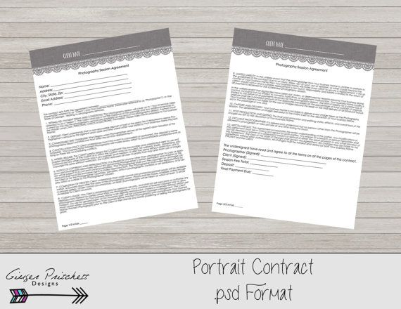Photography Contract, Model Release, Portrait Session Contract - sample artist contract template