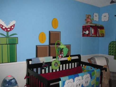 Super Mario Brothers, Super Mario Brothers Theme Little Boys Boy to Toddler to Kid Room., Mario Pipe, Coins, Blocks. And Mario Crib Mobile, Boys Rooms Design