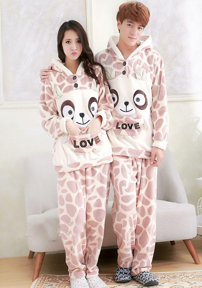 c21ecae1a1 Coral fleece love bear couple pajamas