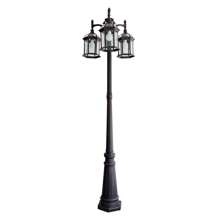 Portfolio Outdoor Lamp Post Pole Mount Light Lighting Fixture 3 Lights Lantern Portfolio Outdoor Lamp Posts Outdoor Post Lights Post Lights