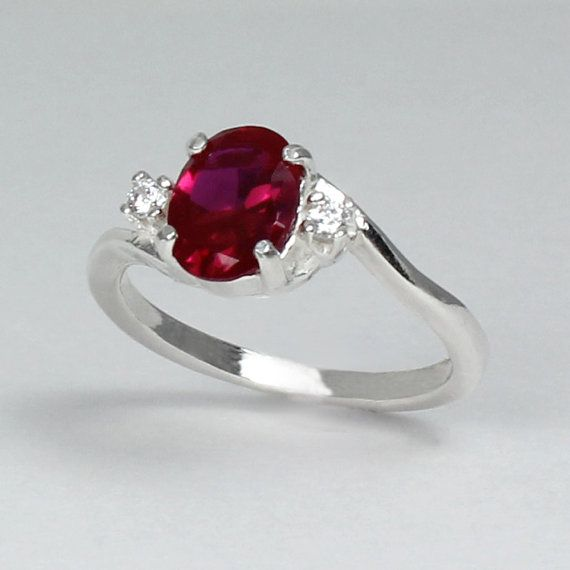 Sterling Silver Ruby Ring With Diamonds Lab July