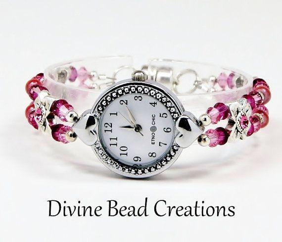 Swarovski Crystal Beaded Watch Bracelet By Divinebeadcreations