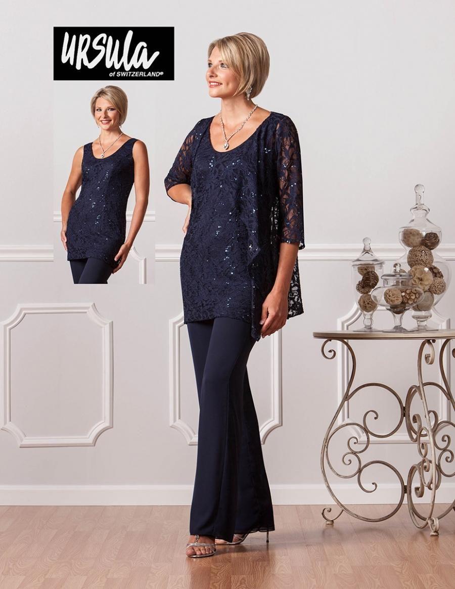 6be66e7e11 2018 Best Seller Navy Blue Plus Size Chiffon Pants Suits For Mother ...