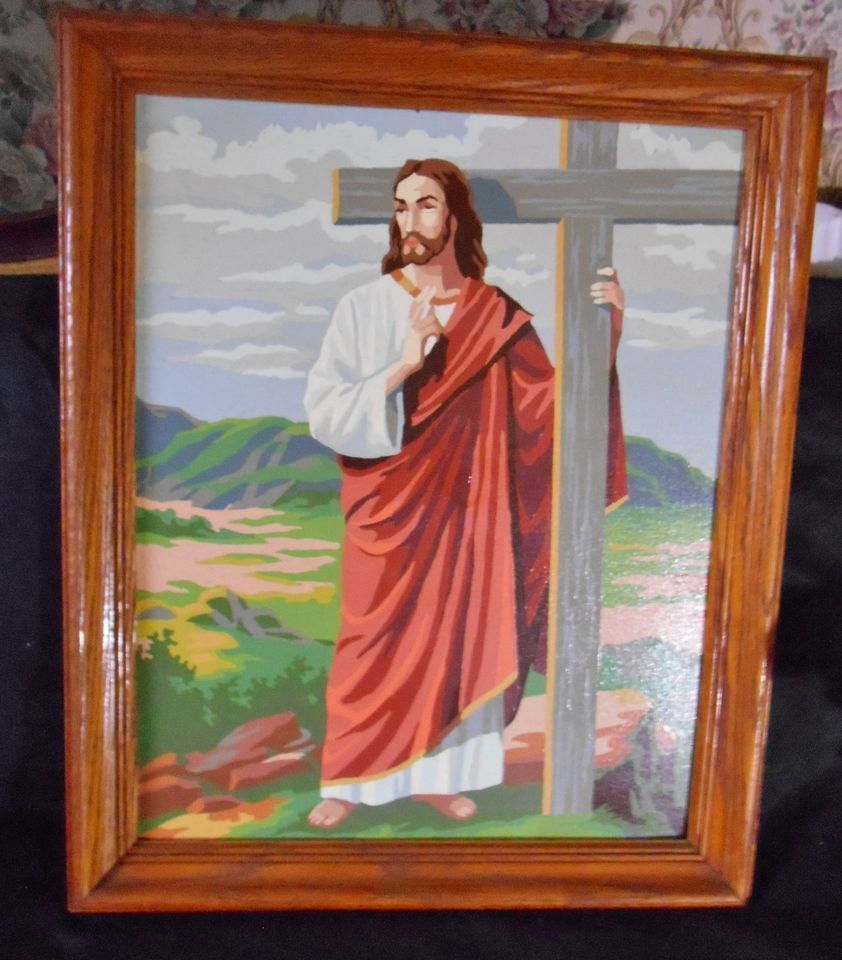 LARGE VTG JESUS WITH CROSS PAINT BY NUMBER WOOD FRAME 23 X19 INCHES ...