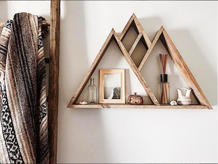 Mountain Range Reclaimed Wood Triangle Shelf Diy Wood Wall Decor Wood Home Decor Wall Decor Design