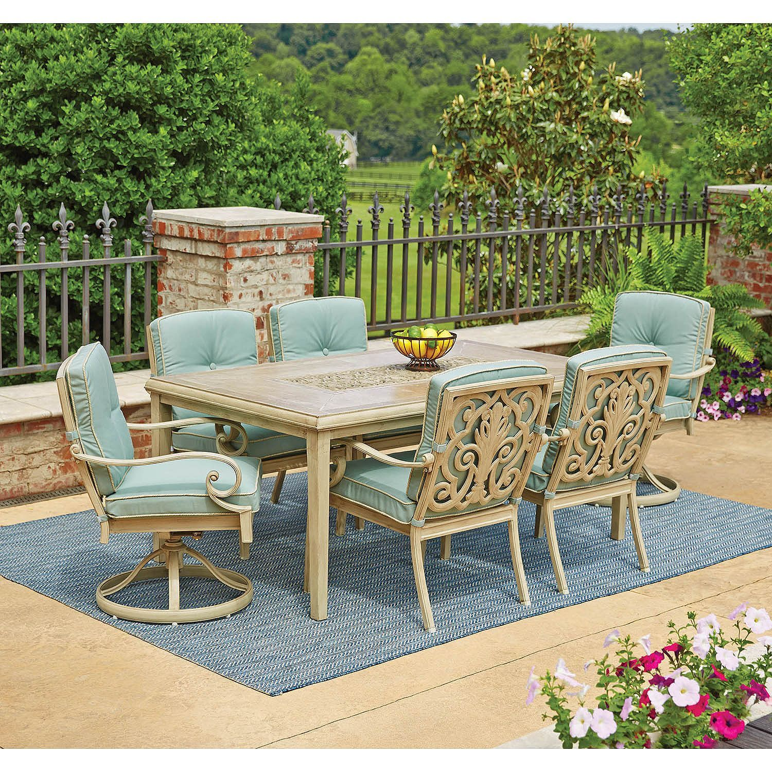 Lynden Hills 7 Piece Dining Set with Sunbrella Fabric