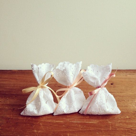 Set Of 10 Lace Favor Bags Italian Thank You Sugared