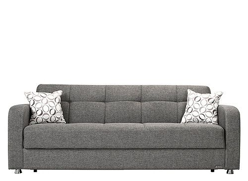 Soft Gray Upholstery And Sleek Chrome Look Feet The Harvey Full Klik Klak Sleeper Sofa With Storage Updates Guest Bed Concept