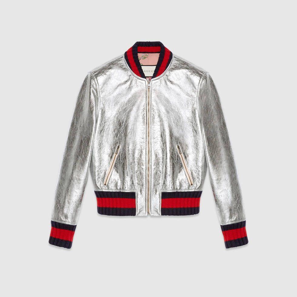 ventas especiales marca popular selección mundial de bomber de cuero plateado de Gucci | militar | Cazadora cuero ...