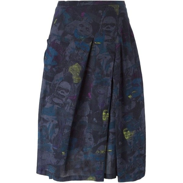 Zucca Illustration Print Skirt (27,270 PHP) via Polyvore featuring skirts, grey, colorful skirts, pattern skirt, multicolor skirt, cotton skirt and zucca