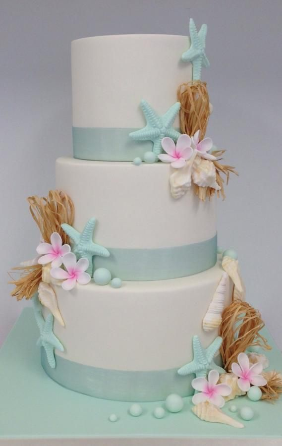 Beach themed wedding cake - Cake by ClaresCakeDesign
