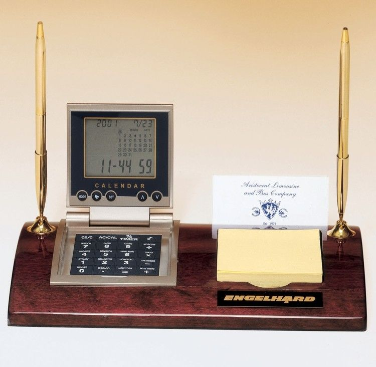 This 506 Executive Desk Set includes a calculator with a clock ...