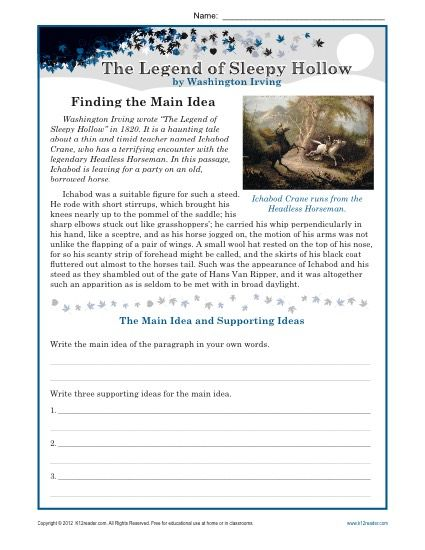 Middle School Main Idea Worksheet About The Legend of Sleepy Hollow ...