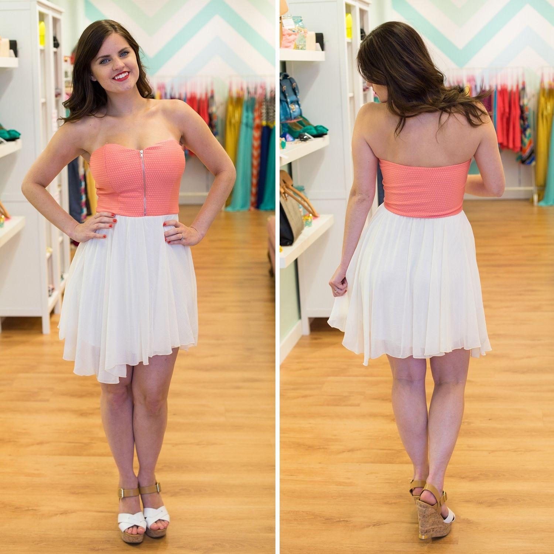 Coral Strapless Zipper Dress - BlueGreenAqua boutique