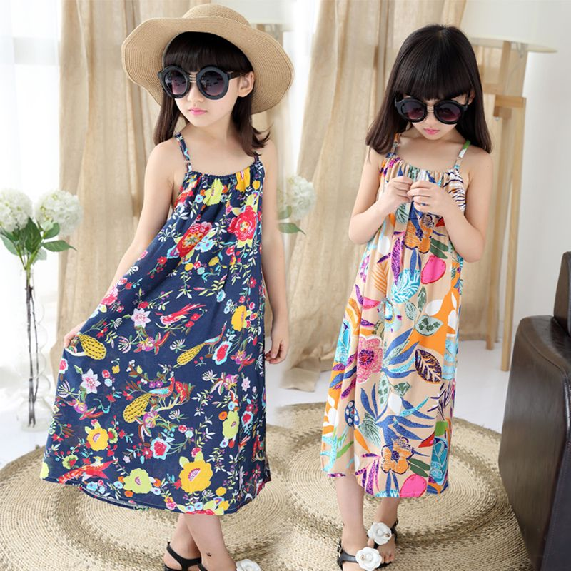 74bac898345 Click to Buy    Girl s dress summer children new dress for girls printed  vest Bohemian dress 3-7-9-11 years kids fashion beach dresses retail   Affiliate