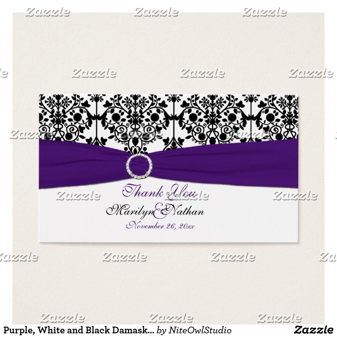 Purple, White and Black Damask Wedding Favor Tag | Wedding favor ...