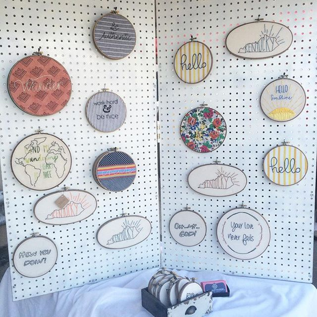 Displayed In This Embroidery Hoop Is A Fantastic: Craft Show Peg Board Display