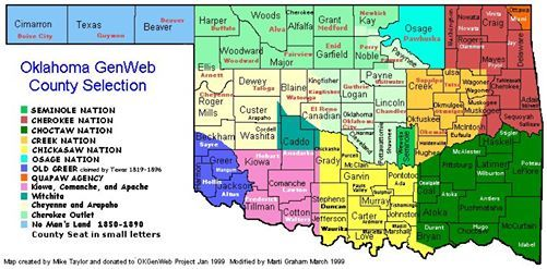 Photo Map Of Oklahoma Reservations Tsalagi History Culture