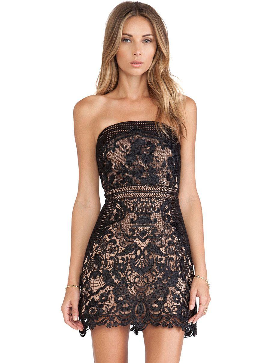 Strapless Black Lace Dress - Dress Ala
