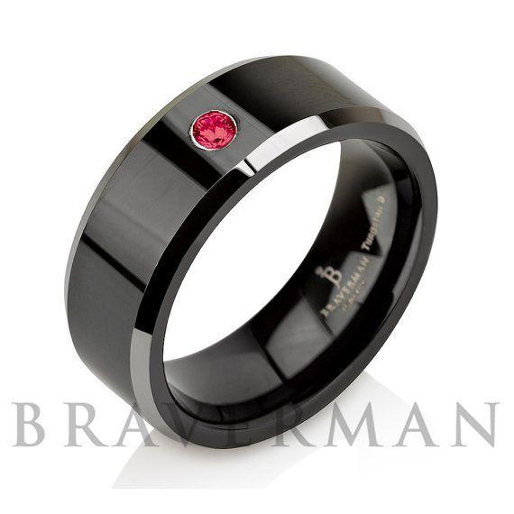 Red Ruby Men Tungsten Wedding BandMan Tungsten by BravermanOren