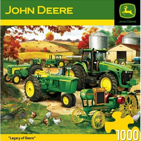 """500 Pieces -- """"Legacy of Deere"""" -- Art by Charles Freitag; Puzzle by MasterPieces Puzzle Co.; Copyright 2011; Completed Size: 26-3/4"""" x 19-1/4""""; Purchased at Deseret Industries for $1.50 on 21 Nov 2014"""