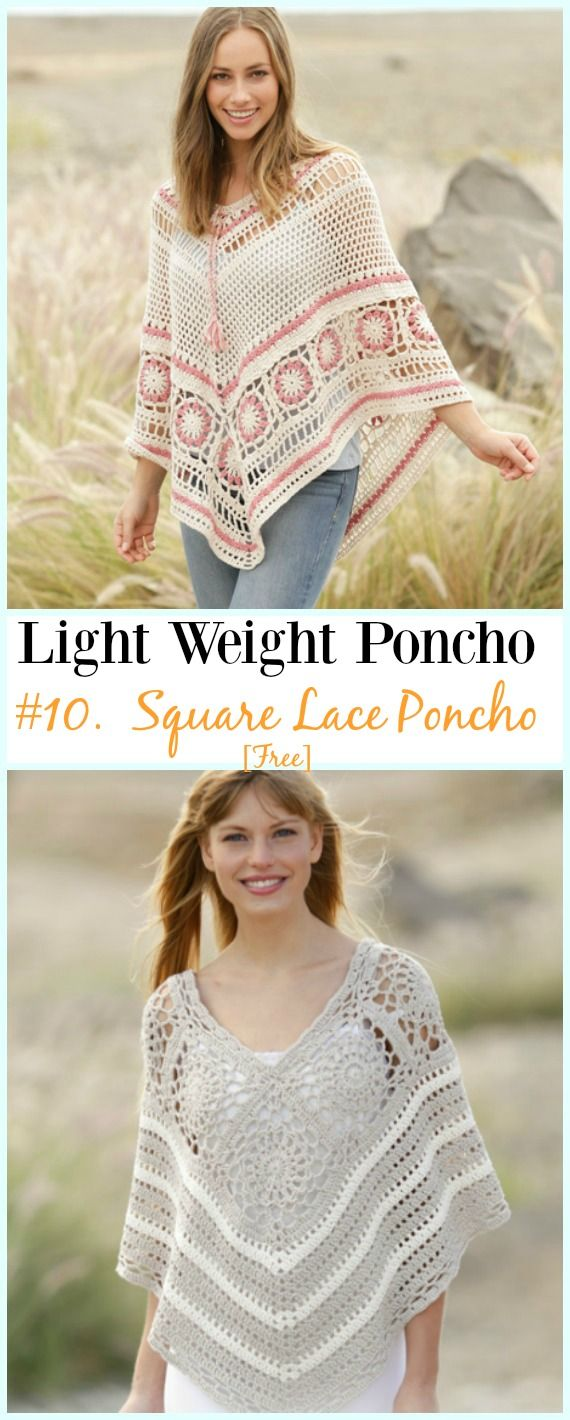 Light Weight Spring Summer Poncho Free Crochet Patterns | Crocheted ...