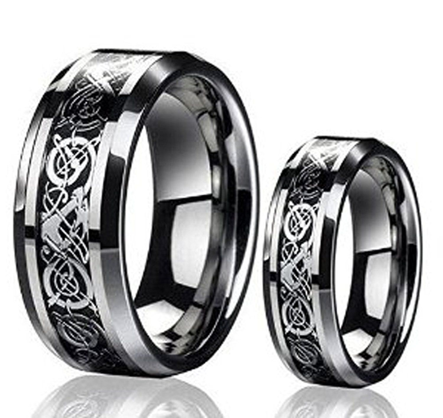 men's and ladie's 8mm/6mm the celtic dragon design tungsten carbide