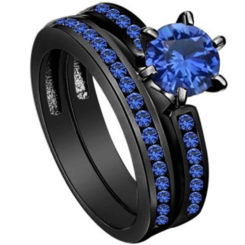 4 12 Black Wedding Ring Engagement Solitaire Blue Crystal