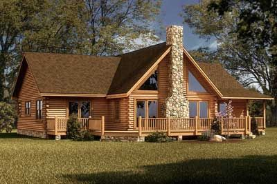 The Red River log home floor plan offers a wonderful view even from ...