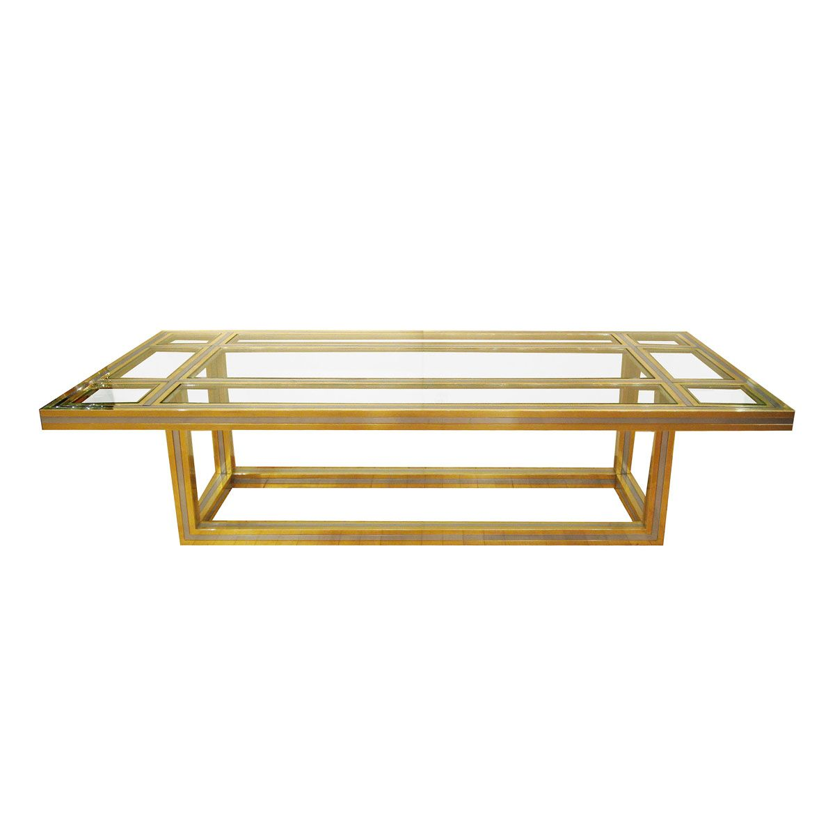 Brass And Stainless Steel Coffee Table With Glass Insets Coffee