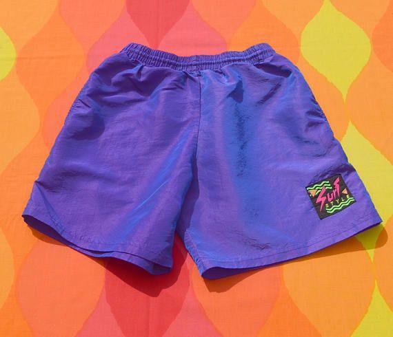 8eb153c45f vintage 90s SURF STYLE shorts purple iridescent neon drawstring warm ...