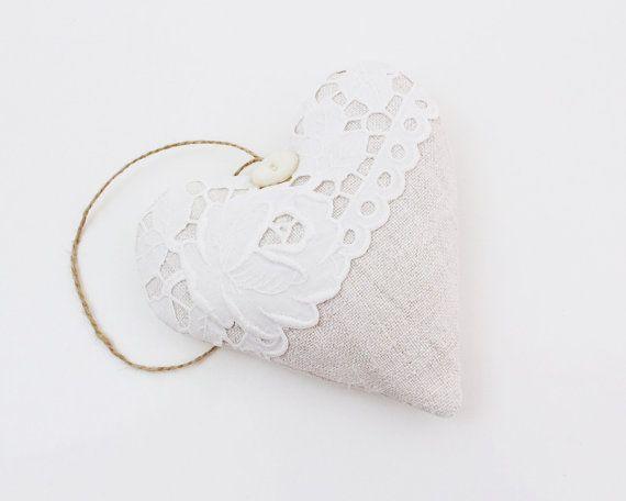 French Linen & Lace Heart Sachet